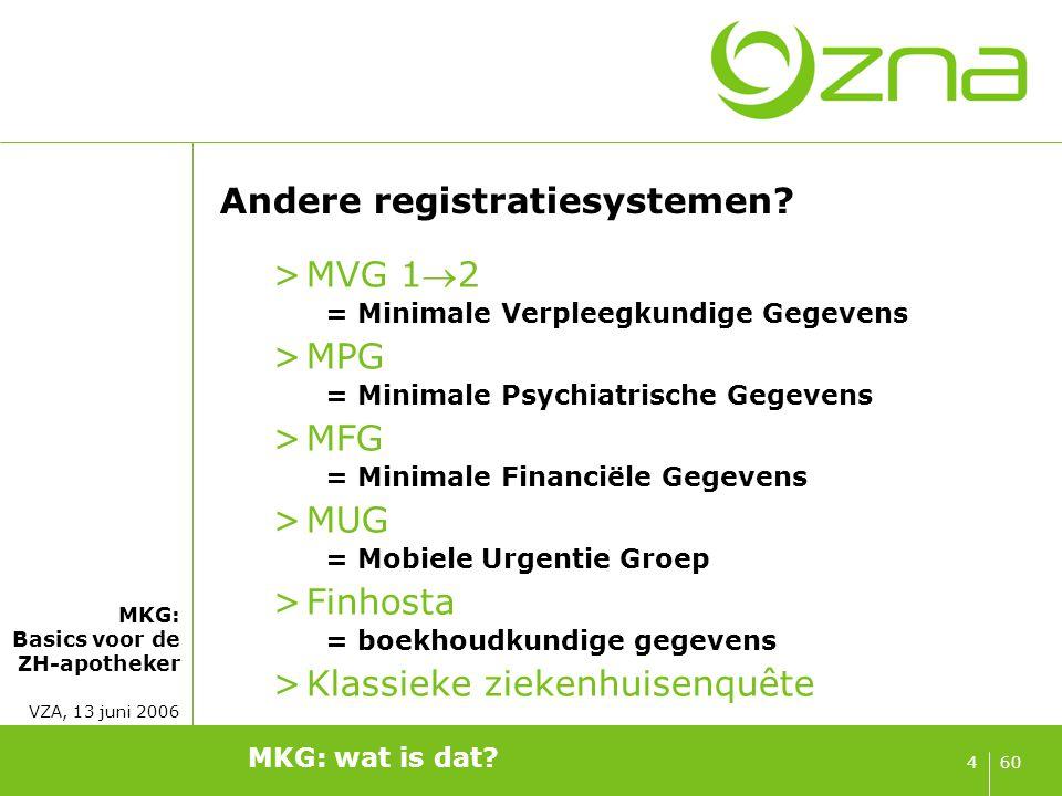 MKG: Basics voor de ZH-apotheker VZA, 13 juni 2006 604 Andere registratiesystemen? >MVG 12 = Minimale Verpleegkundige Gegevens >MPG = Minimale Psychi