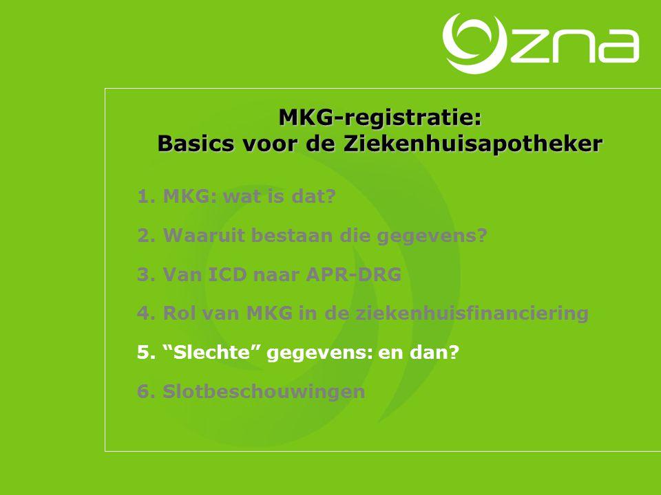 MKG-registratie: Basics voor de Ziekenhuisapotheker 1. MKG: wat is dat? 2. Waaruit bestaan die gegevens? 3. Van ICD naar APR-DRG 4. Rol van MKG in de