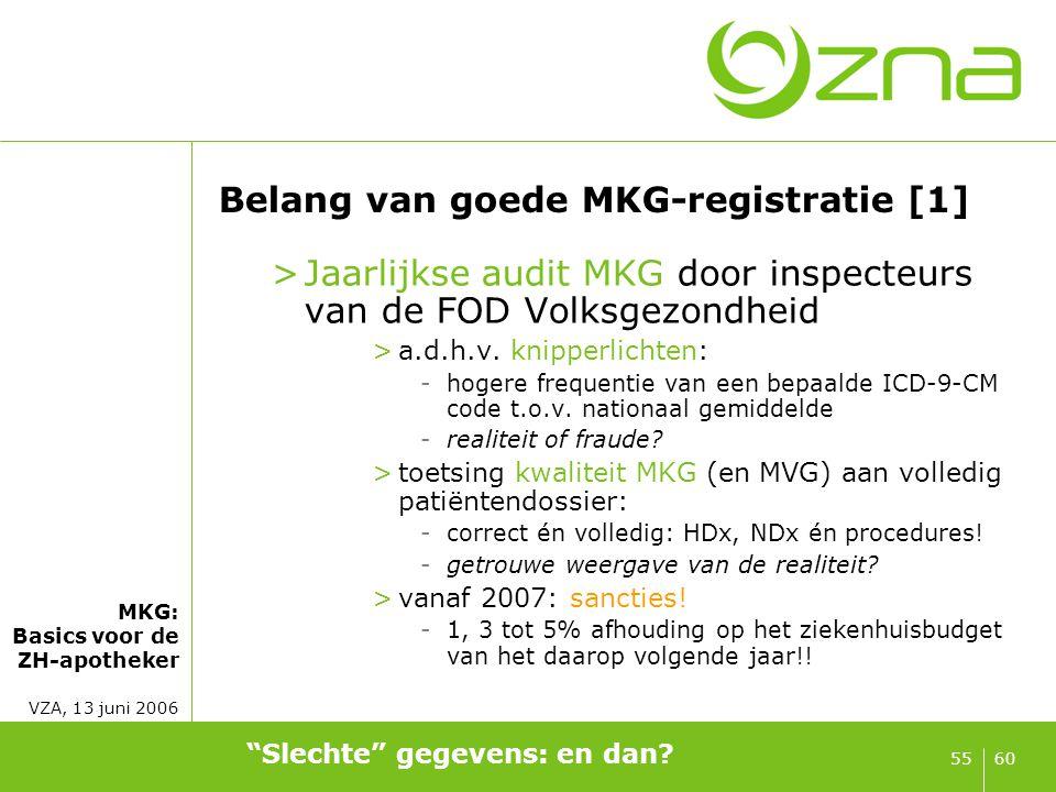 MKG: Basics voor de ZH-apotheker VZA, 13 juni 2006 6055 Belang van goede MKG-registratie [1] >Jaarlijkse audit MKG door inspecteurs van de FOD Volksge