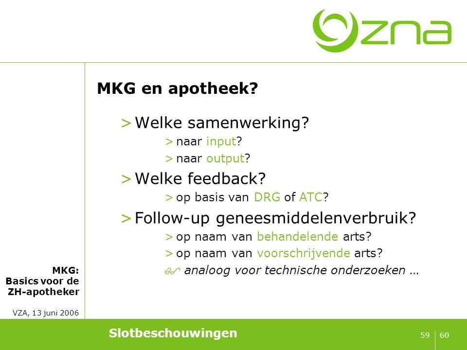 MKG: Basics voor de ZH-apotheker VZA, 13 juni 2006 6059 MKG en apotheek? >Welke samenwerking? >naar input? >naar output? >Welke feedback? >op basis va