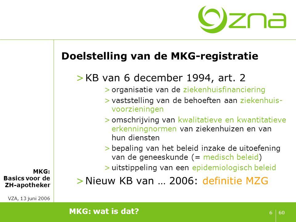 MKG: Basics voor de ZH-apotheker VZA, 13 juni 2006 606 Doelstelling van de MKG-registratie >KB van 6 december 1994, art. 2 >organisatie van de ziekenh