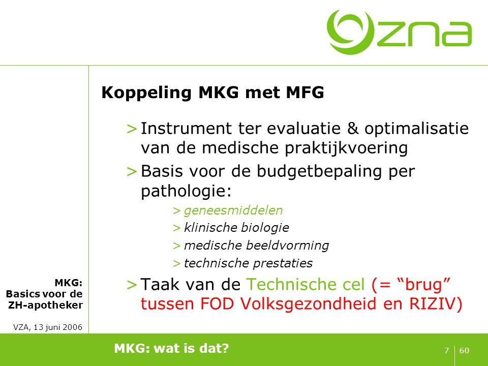MKG: Basics voor de ZH-apotheker VZA, 13 juni 2006 607 Koppeling MKG met MFG >Instrument ter evaluatie & optimalisatie van de medische praktijkvoering