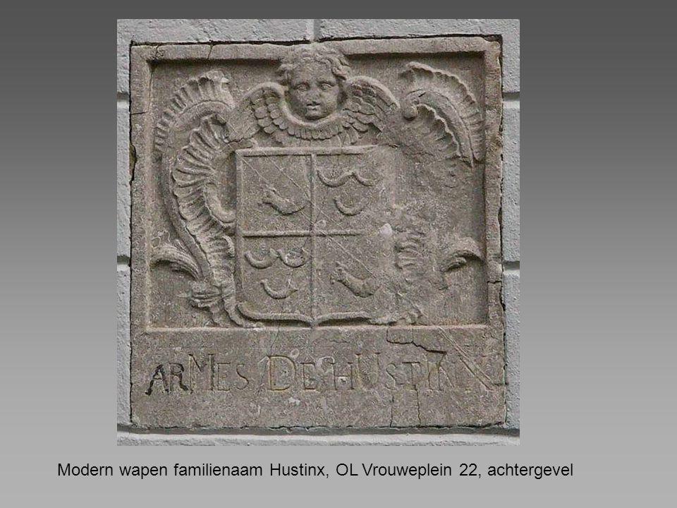 Modern wapen familienaam Hustinx, OL Vrouweplein 22, achtergevel