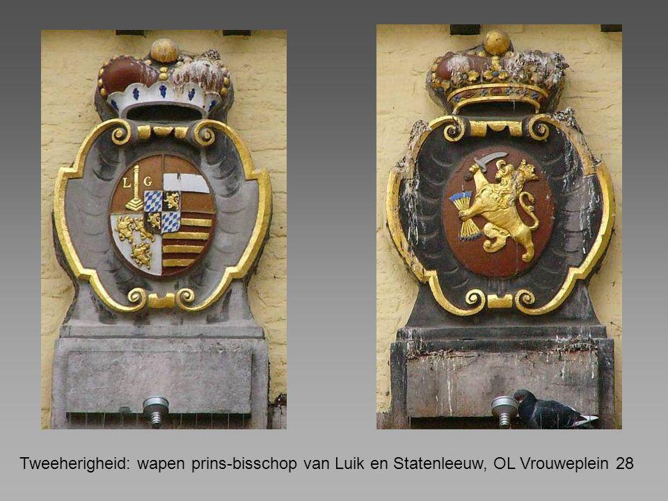 Tweeherigheid: wapen prins-bisschop van Luik en Statenleeuw, OL Vrouweplein 28