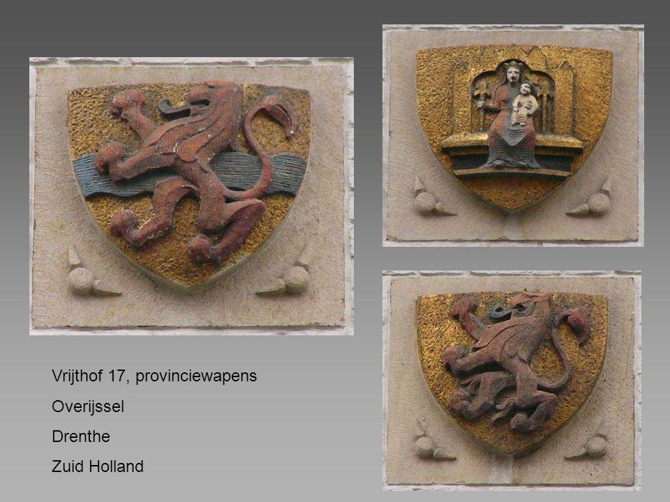 Vrijthof 17, provinciewapens Overijssel Drenthe Zuid Holland