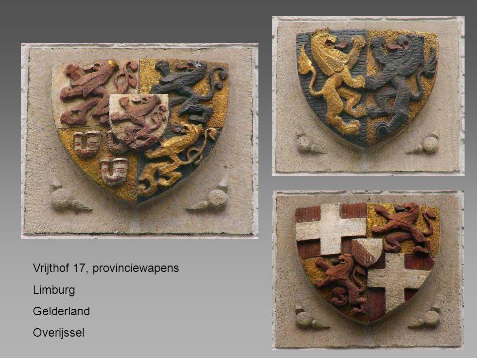 Vrijthof 17, provinciewapens Limburg Gelderland Overijssel