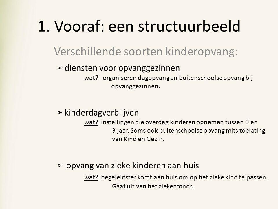 1. Vooraf: een structuurbeeld Verschillende soorten kinderopvang:  diensten voor opvanggezinnen wat? organiseren dagopvang en buitenschoolse opvang b