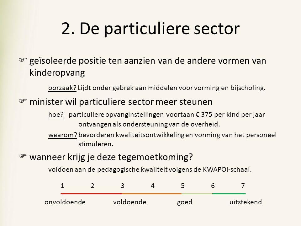 2. De particuliere sector  geïsoleerde positie ten aanzien van de andere vormen van kinderopvang oorzaak? Lijdt onder gebrek aan middelen voor vormin