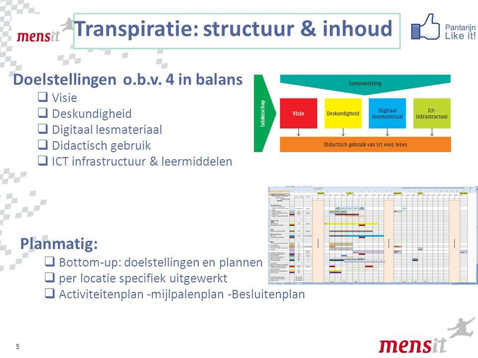 5 Transpiratie: structuur & inhoud Doelstellingen o.b.v. 4 in balans  Visie  Deskundigheid  Digitaal lesmateriaal  Didactisch gebruik  ICT infras