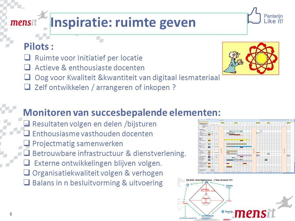 6 Inspiratie: ruimte geven Pilots :  Ruimte voor Initiatief per locatie  Actieve & enthousiaste docenten  Oog voor Kwaliteit &kwantiteit van digita