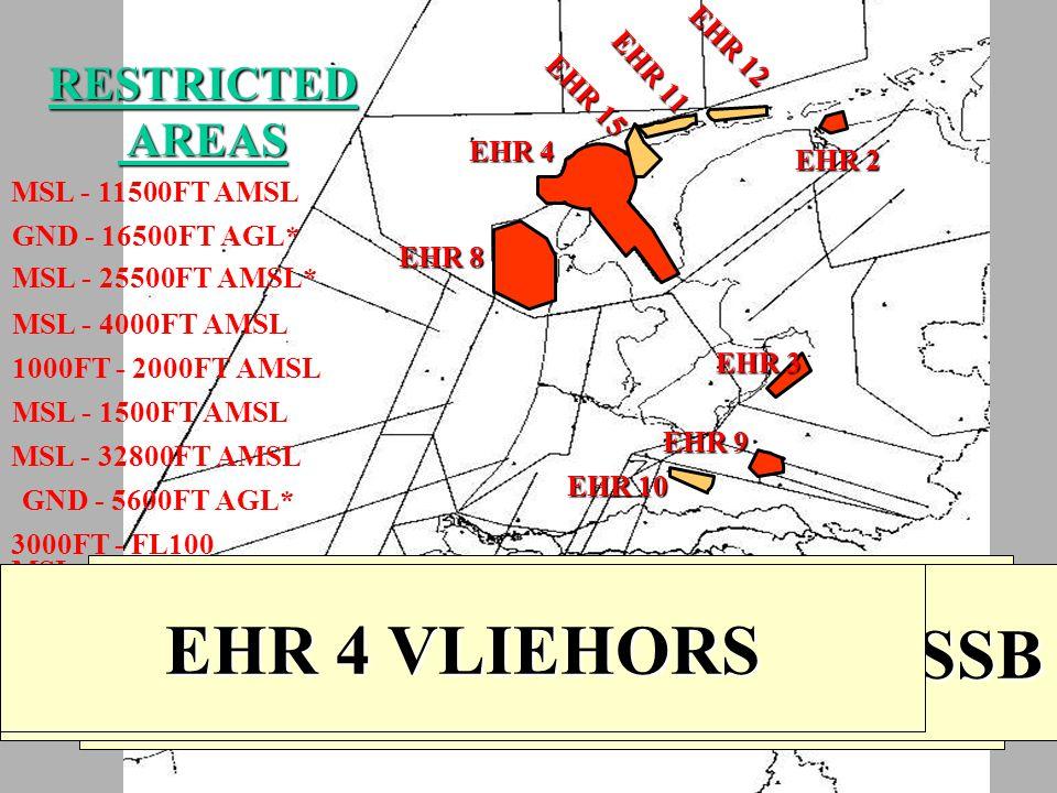 RESTRICTED AREAS AREAS EHR 2 MARNEWAARD EHR 3 OLDEBROEK EHR 4 VLIEHORS EHR 8 DEN HELDER EHR 9 HARSKAMP EHR 10CLIMB CORRIDOR SSB EHR 11 TERSCHELLING EH