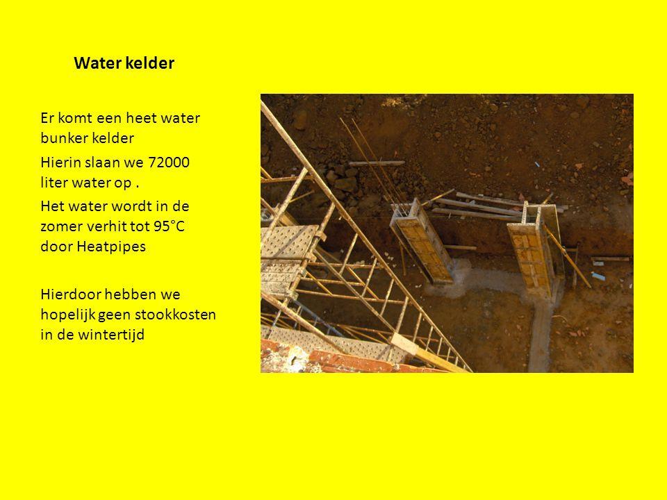 Water kelder Er komt een heet water bunker kelder Hierin slaan we 72000 liter water op. Het water wordt in de zomer verhit tot 95°C door Heatpipes Hie
