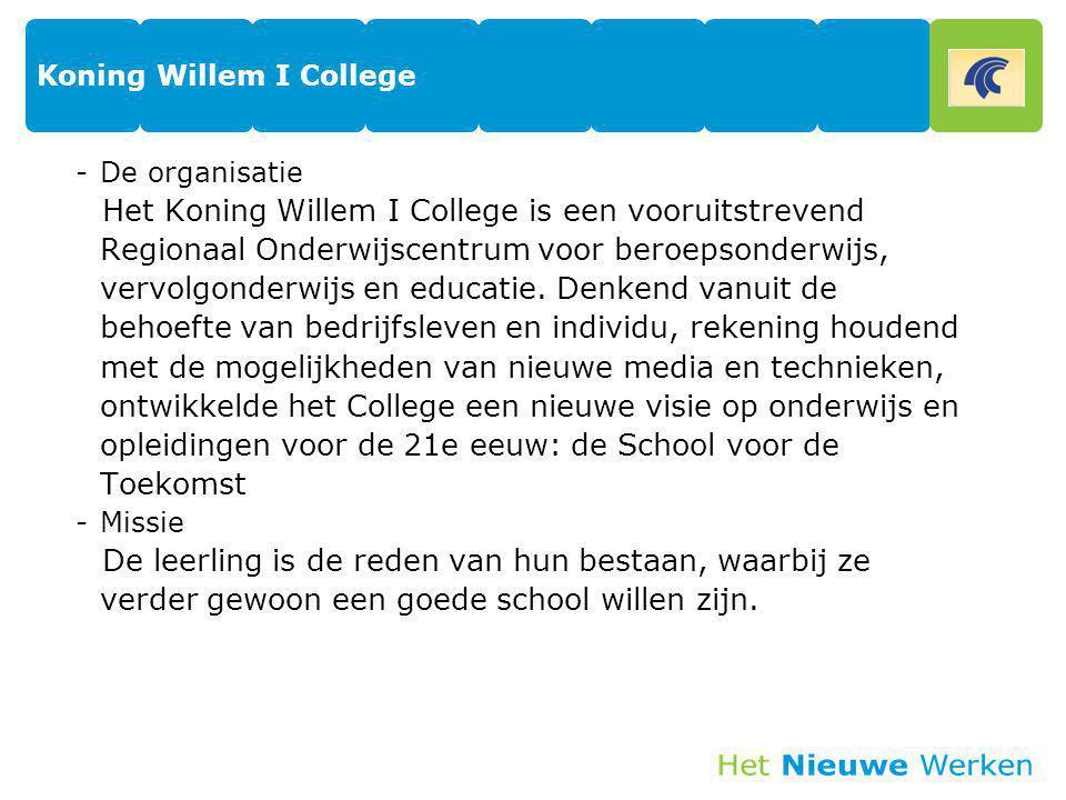 Koning Willem I College -De organisatie Het Koning Willem I College is een vooruitstrevend Regionaal Onderwijscentrum voor beroepsonderwijs, vervolgon