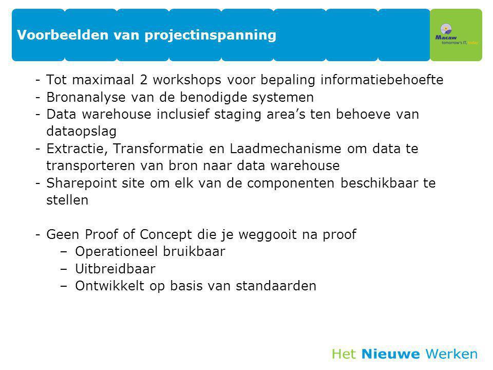 Voorbeelden van projectinspanning -Tot maximaal 2 workshops voor bepaling informatiebehoefte -Bronanalyse van de benodigde systemen -Data warehouse in