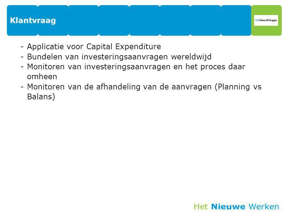 Klantvraag -Applicatie voor Capital Expenditure -Bundelen van investeringsaanvragen wereldwijd -Monitoren van investeringsaanvragen en het proces daar