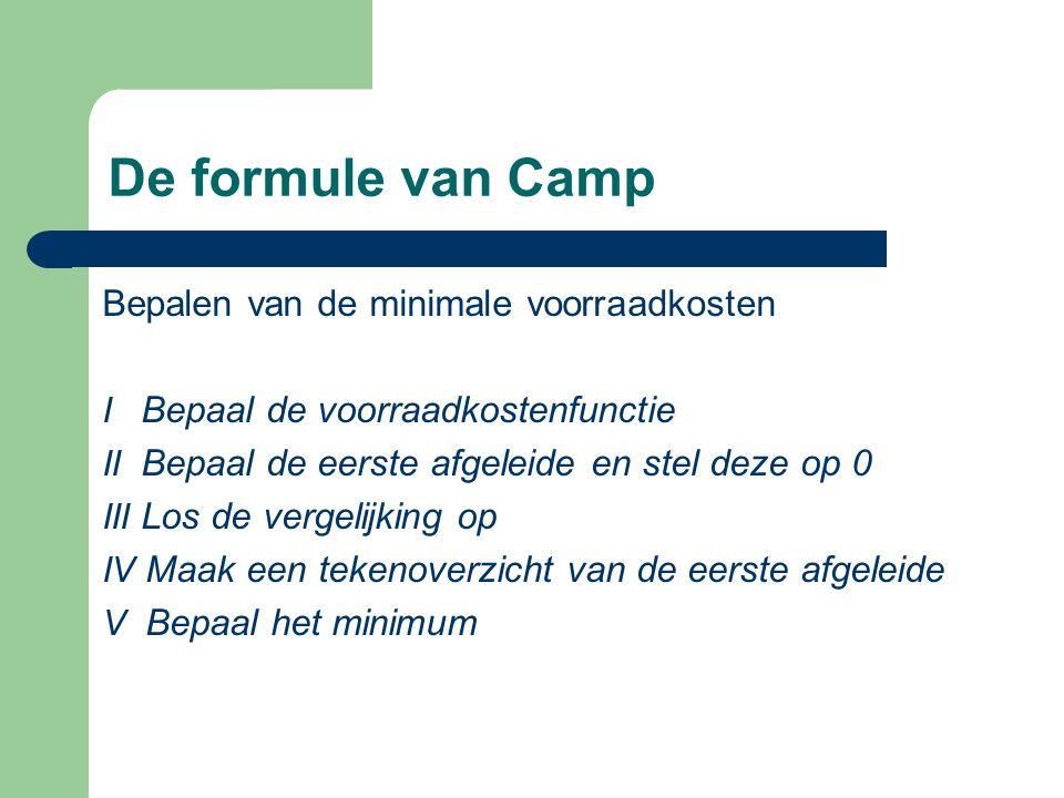 De formule van Camp Bepalen van de minimale voorraadkosten I Bepaal de voorraadkostenfunctie II Bepaal de eerste afgeleide en stel deze op 0 III Los d