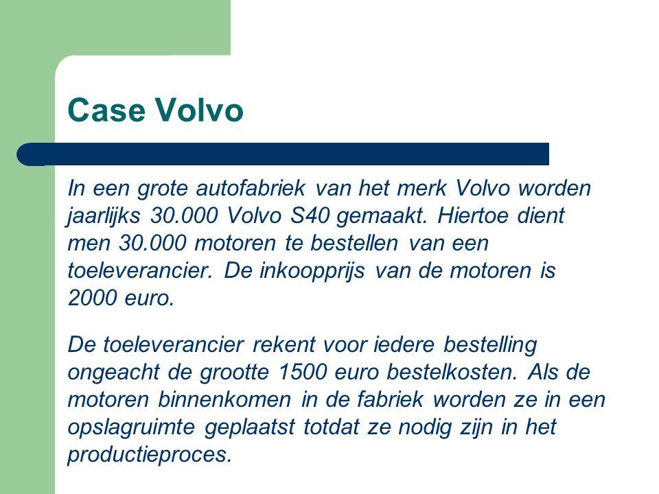 Case Volvo In een grote autofabriek van het merk Volvo worden jaarlijks 30.000 Volvo S40 gemaakt. Hiertoe dient men 30.000 motoren te bestellen van ee