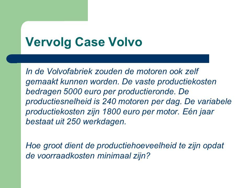 Vervolg Case Volvo In de Volvofabriek zouden de motoren ook zelf gemaakt kunnen worden. De vaste productiekosten bedragen 5000 euro per productieronde