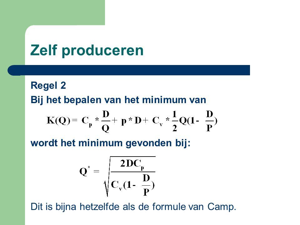Zelf produceren Regel 2 Bij het bepalen van het minimum van wordt het minimum gevonden bij: Dit is bijna hetzelfde als de formule van Camp.