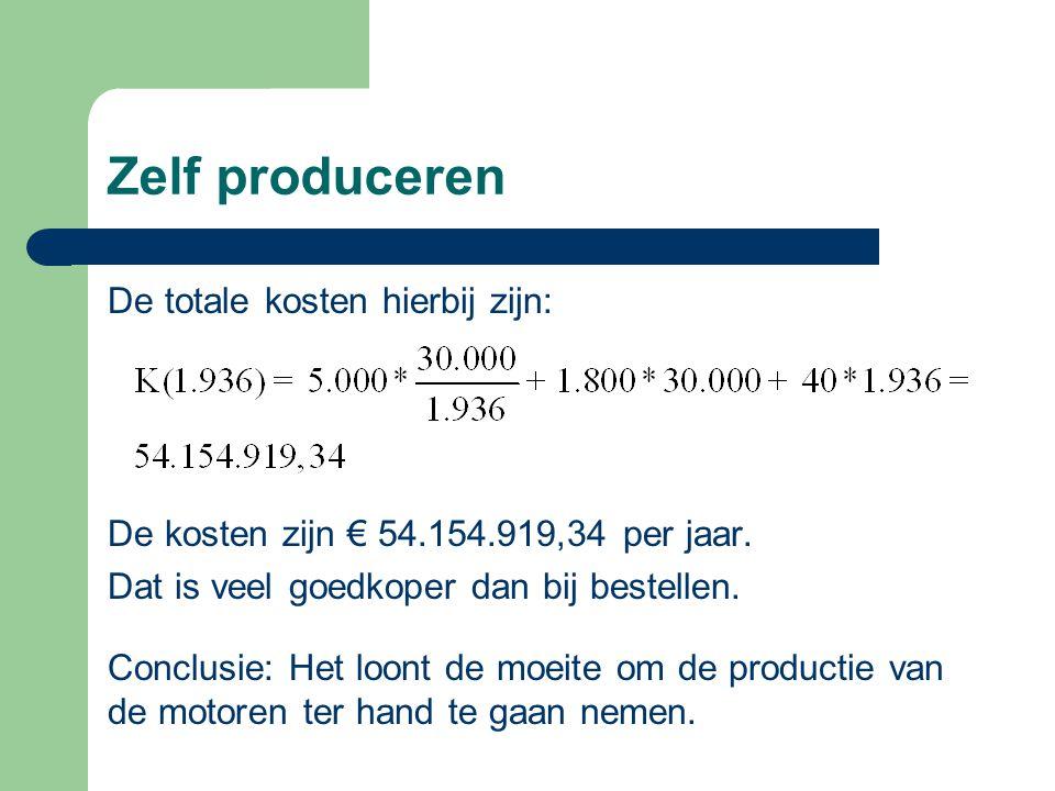 Zelf produceren De totale kosten hierbij zijn: De kosten zijn € 54.154.919,34 per jaar. Dat is veel goedkoper dan bij bestellen. Conclusie: Het loont