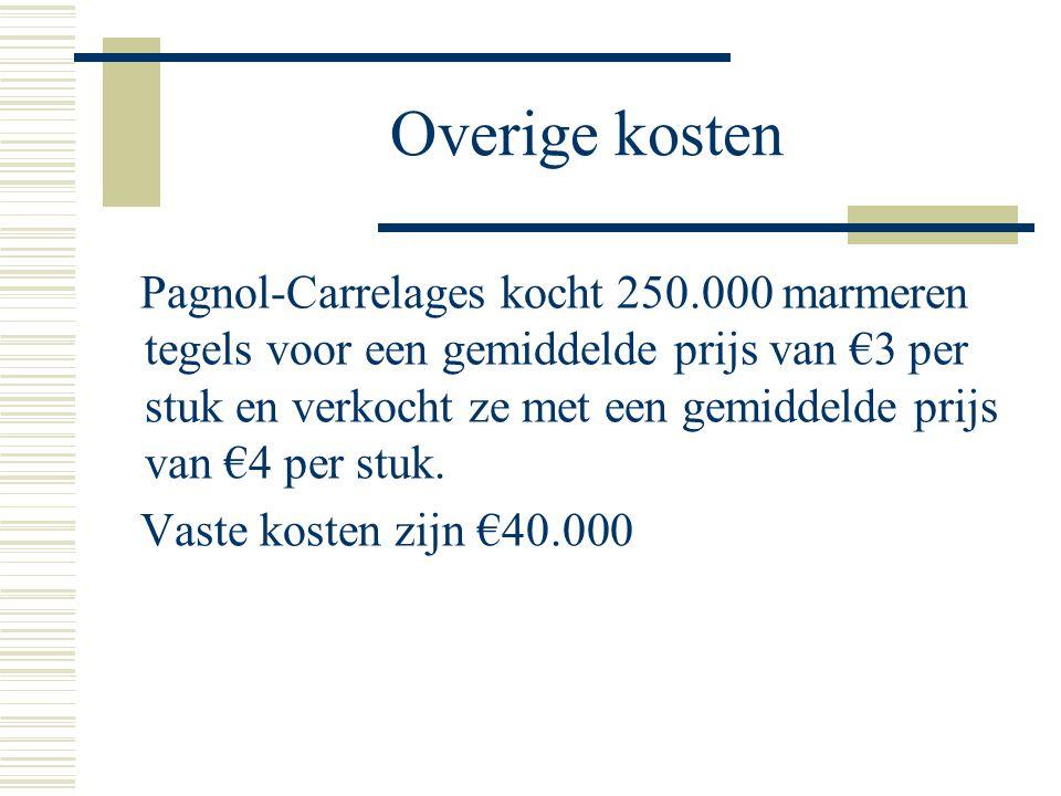 Overige kosten Pagnol-Carrelages kocht 250.000 marmeren tegels voor een gemiddelde prijs van €3 per stuk en verkocht ze met een gemiddelde prijs van €