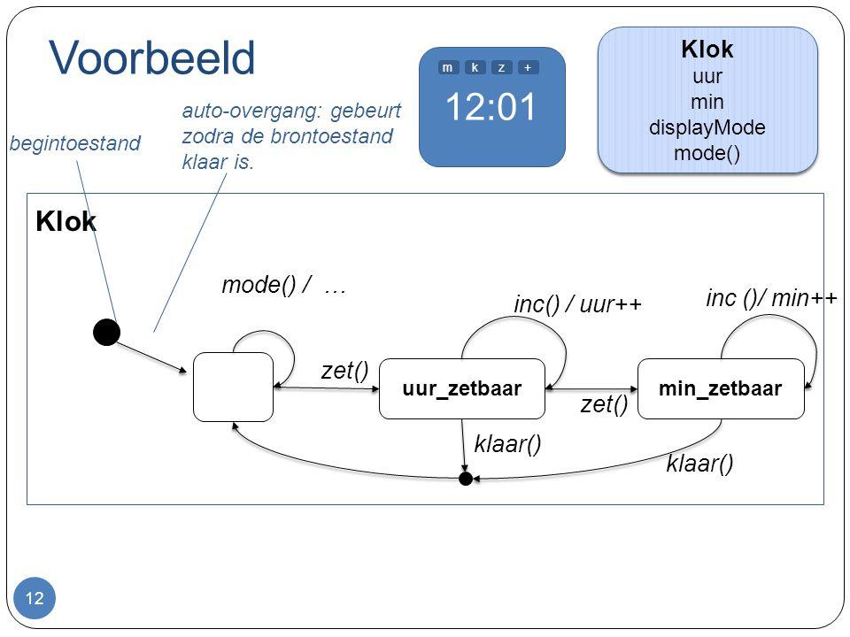 12:01 Voorbeeld 12 uur_zetbaar inc() / uur++ begintoestand auto-overgang: gebeurt zodra de brontoestand klaar is. min_zetbaar inc ()/ min++ zet() klaa