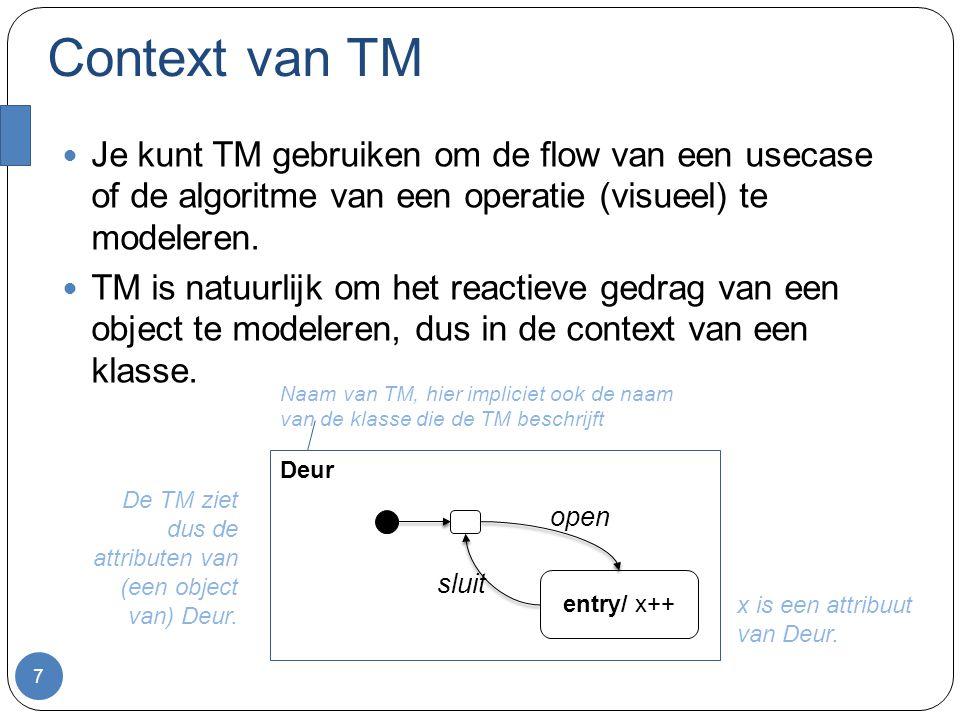 Context van TM Je kunt TM gebruiken om de flow van een usecase of de algoritme van een operatie (visueel) te modeleren. TM is natuurlijk om het reacti