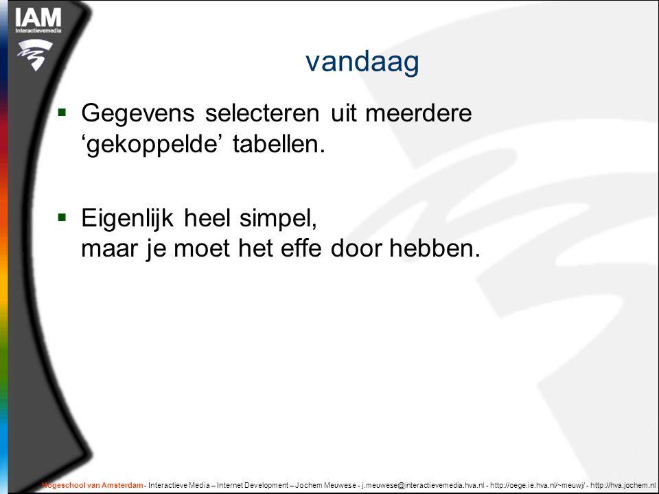 Hogeschool van Amsterdam - Interactieve Media – Internet Development – Jochem Meuwese - j.meuwese@interactievemedia.hva.nl - http://oege.ie.hva.nl/~meuwj/ - http://hva.jochem.nl vandaag  Gegevens selecteren uit meerdere 'gekoppelde' tabellen.