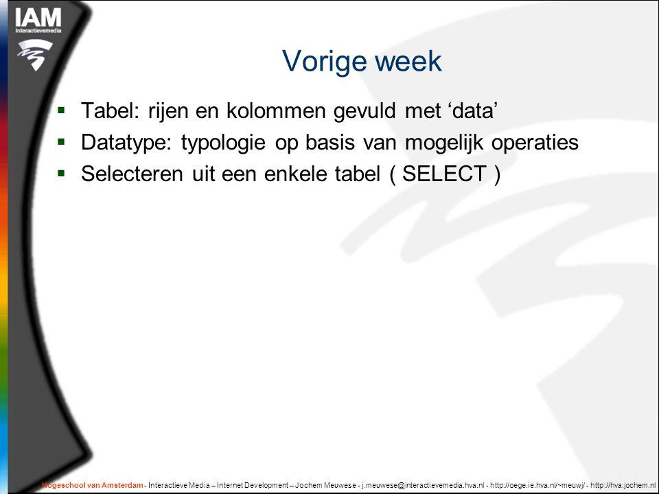Hogeschool van Amsterdam - Interactieve Media – Internet Development – Jochem Meuwese - j.meuwese@interactievemedia.hva.nl - http://oege.ie.hva.nl/~meuwj/ - http://hva.jochem.nl Vorige week  Tabel: rijen en kolommen gevuld met 'data'  Datatype: typologie op basis van mogelijk operaties  Selecteren uit een enkele tabel ( SELECT )