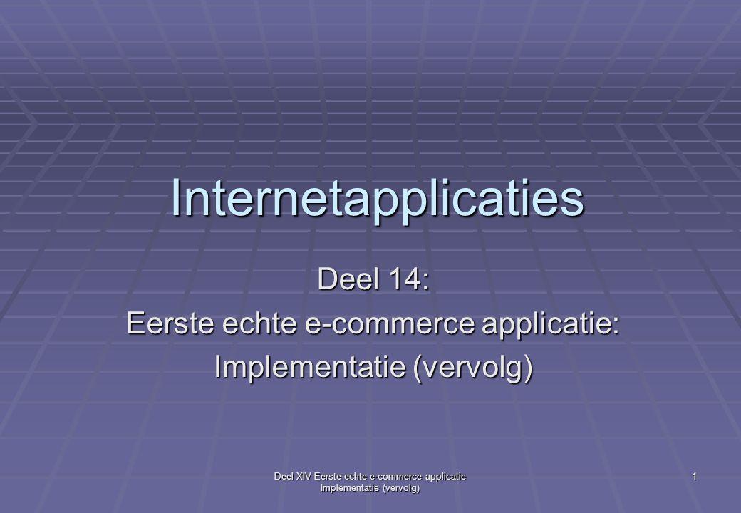 Deel XIV Eerste echte e-commerce applicatie Implementatie (vervolg) 2 Boeken, tutorials, links, nieuwe elementen  Google: date and time methods java: java.sun.com/docs/books/tutorial/ essential/system/misc.html java.sun.com/docs/books/tutorial/ essential/system/misc.html long nu = System.currentTimeMillis(); //tijd in milli's long nu = System.currentTimeMillis(); //tijd in milli's  HTML-form paswoord-input-type: