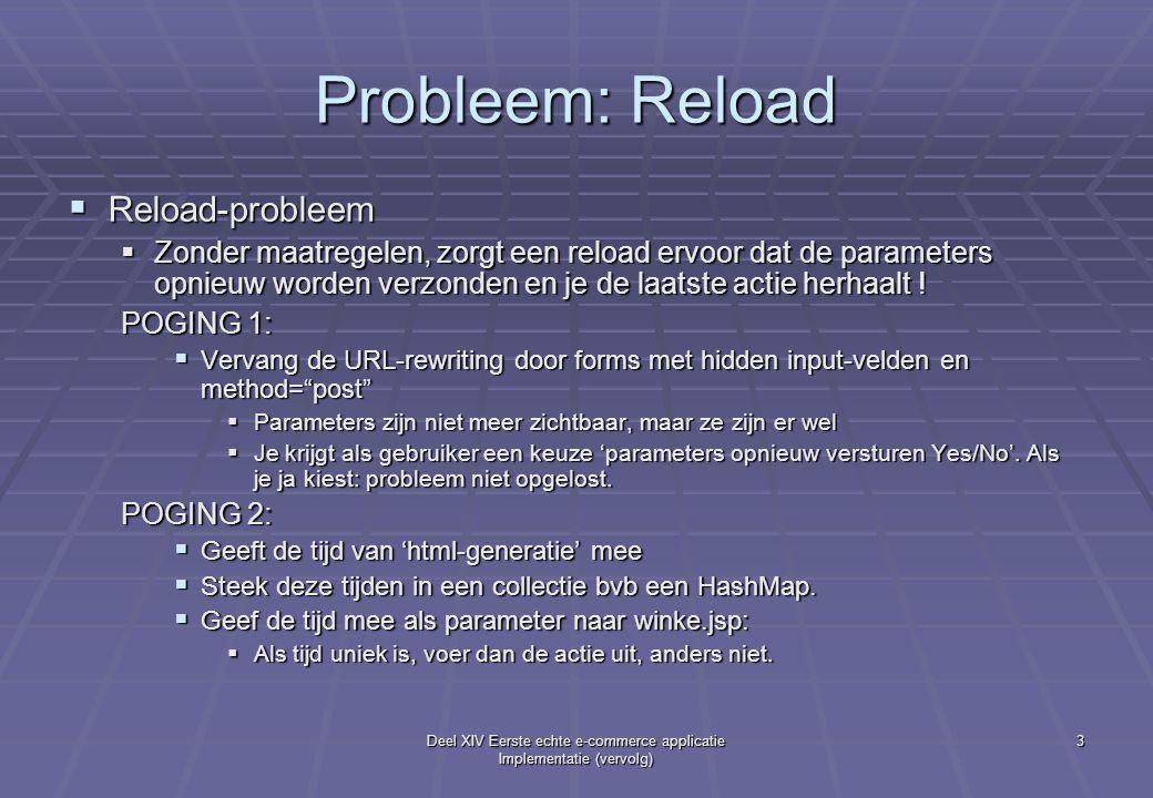 Deel XIV Eerste echte e-commerce applicatie Implementatie (vervolg) 3 Probleem: Reload  Reload-probleem  Zonder maatregelen, zorgt een reload ervoor dat de parameters opnieuw worden verzonden en je de laatste actie herhaalt .
