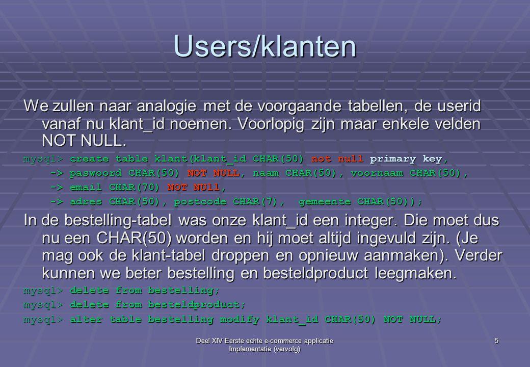 Deel XIV Eerste echte e-commerce applicatie Implementatie (vervolg) 5 Users/klanten We zullen naar analogie met de voorgaande tabellen, de userid vanaf nu klant_id noemen.