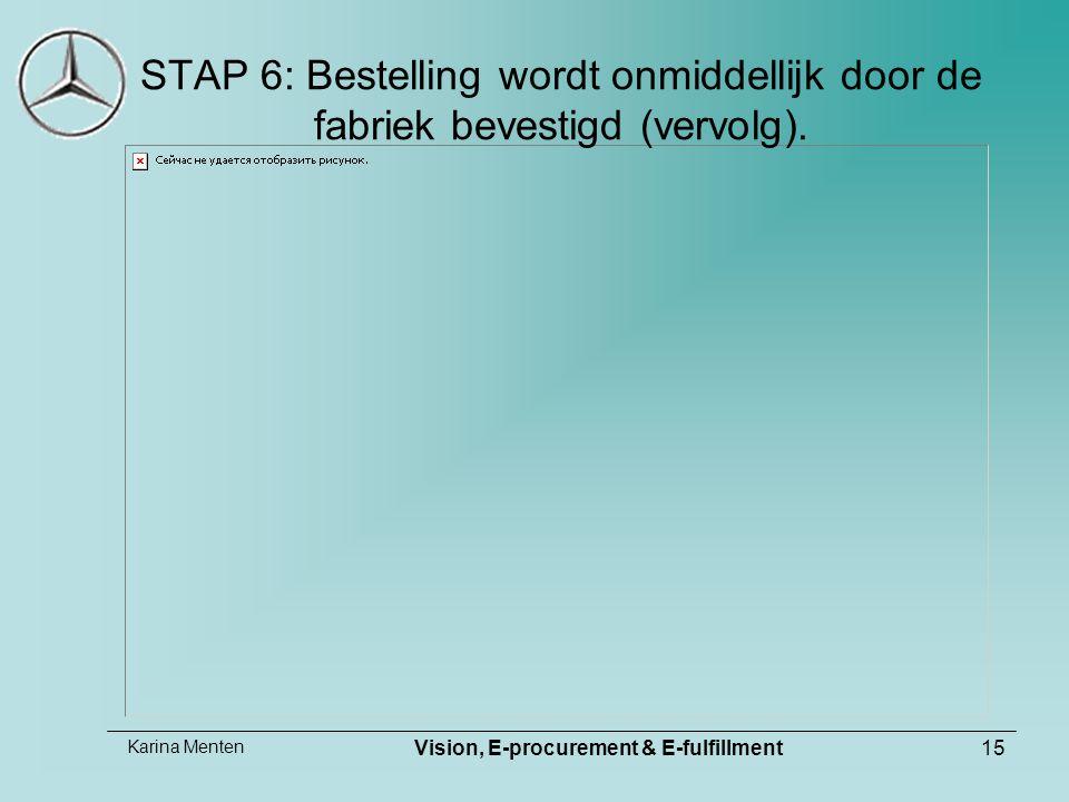 Karina Menten Vision, E-procurement & E-fulfillment15 STAP 6: Bestelling wordt onmiddellijk door de fabriek bevestigd (vervolg).