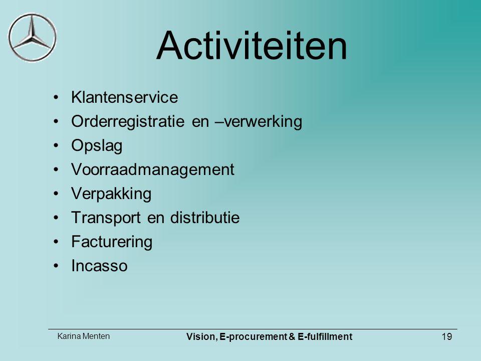 Karina Menten Vision, E-procurement & E-fulfillment19 Activiteiten Klantenservice Orderregistratie en –verwerking Opslag Voorraadmanagement Verpakking Transport en distributie Facturering Incasso