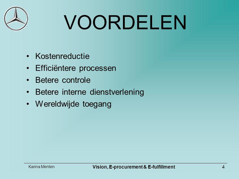 Karina Menten Vision, E-procurement & E-fulfillment4 VOORDELEN Kostenreductie Efficiëntere processen Betere controle Betere interne dienstverlening We