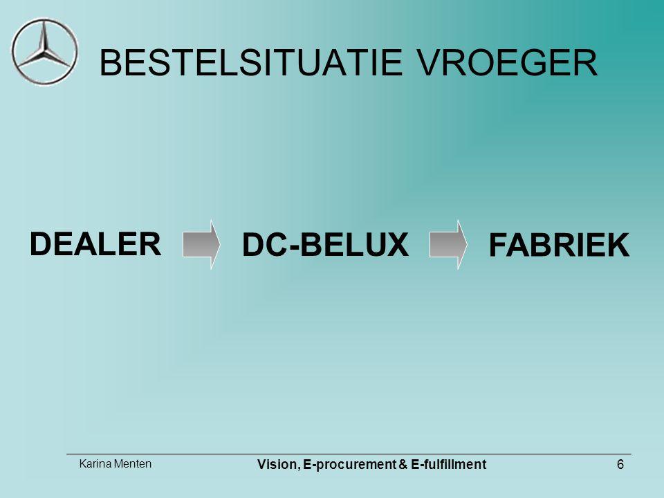 Karina Menten Vision, E-procurement & E-fulfillment6 BESTELSITUATIE VROEGER DEALER FABRIEK DC-BELUX