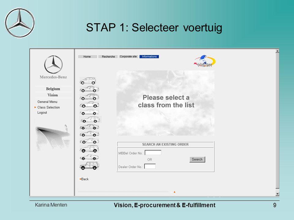Karina Menten Vision, E-procurement & E-fulfillment9 STAP 1: Selecteer voertuig