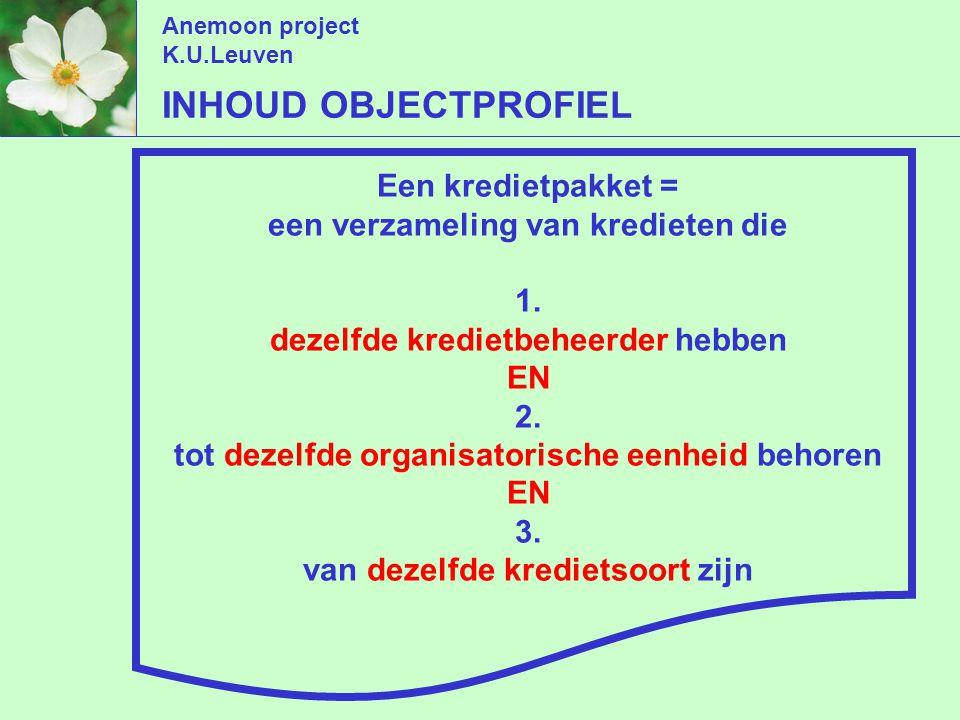 Anemoon project K.U.Leuven Een kredietpakket = een verzameling van kredieten die 1.