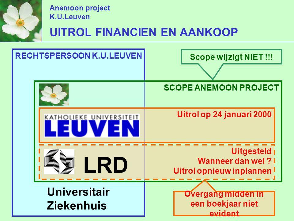 Anemoon project K.U.Leuven RECHTSPERSOON K.U.LEUVEN UITROL FINANCIEN EN AANKOOP Universitair Ziekenhuis SCOPE ANEMOON PROJECT Uitrol op 24 januari 2000 Uitgesteld Wanneer dan wel .