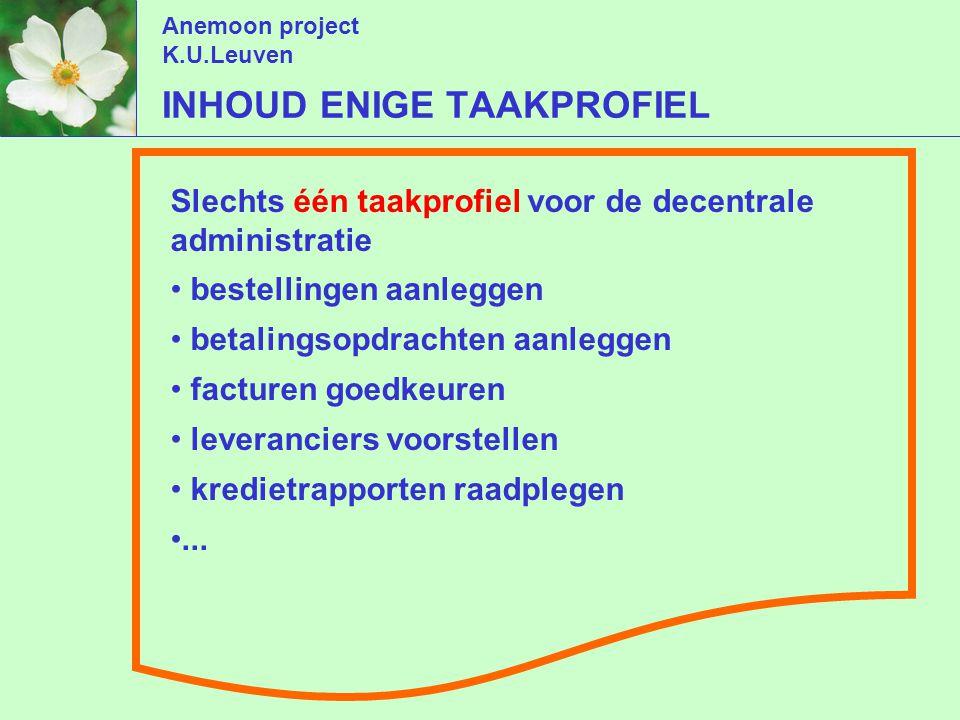 Anemoon project K.U.Leuven Slechts één taakprofiel voor de decentrale administratie bestellingen aanleggen betalingsopdrachten aanleggen facturen goedkeuren leveranciers voorstellen kredietrapporten raadplegen...