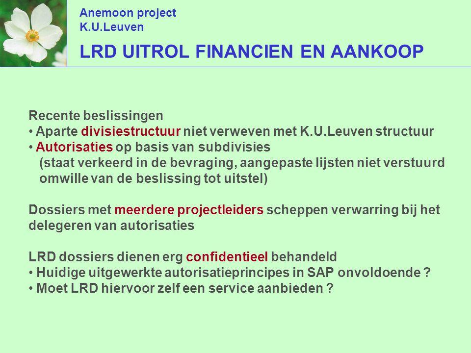 Anemoon project K.U.Leuven AGENDA Inleiding De nieuwe processen in vogelvlucht Autorisaties en delegaties Alternatieven voor interne werkorganisatie Zelf aan de slag met SAP Rapportering m.b.t.