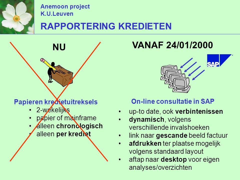 Anemoon project K.U.Leuven RAPPORTERING KREDIETEN NU 2-wekelijks papier of mainframe alleen chronologisch alleen per krediet Papieren kredietuitreksels VANAF 24/01/2000 up-to date, ook verbintenissen dynamisch, volgens verschillende invalshoeken link naar gescande beeld factuur afdrukken ter plaatse mogelijk volgens standaard layout aftap naar desktop voor eigen analyses/overzichten On-line consultatie in SAP