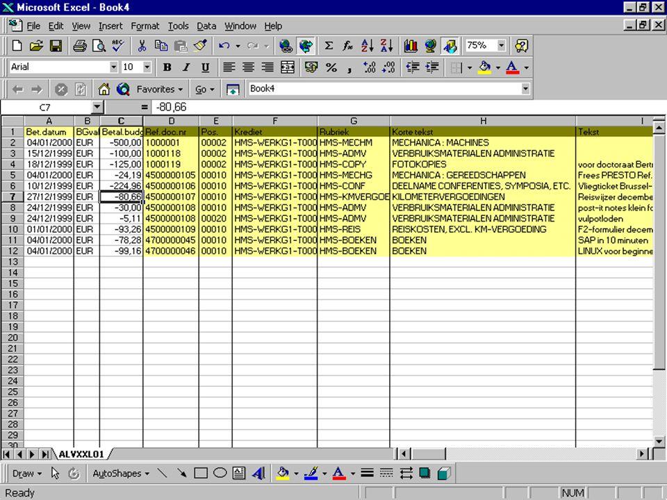 Anemoon project K.U.Leuven export naar Excel