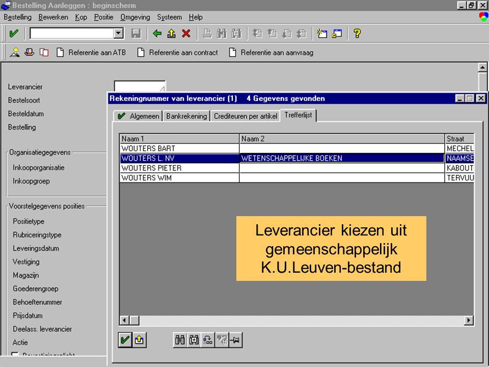 Anemoon project K.U.Leuven overzicht bestelling omschrijving bestelling Leverancier