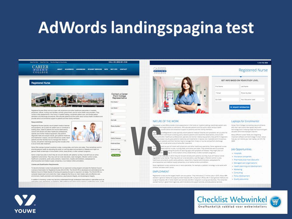 AdWords landingspagina test