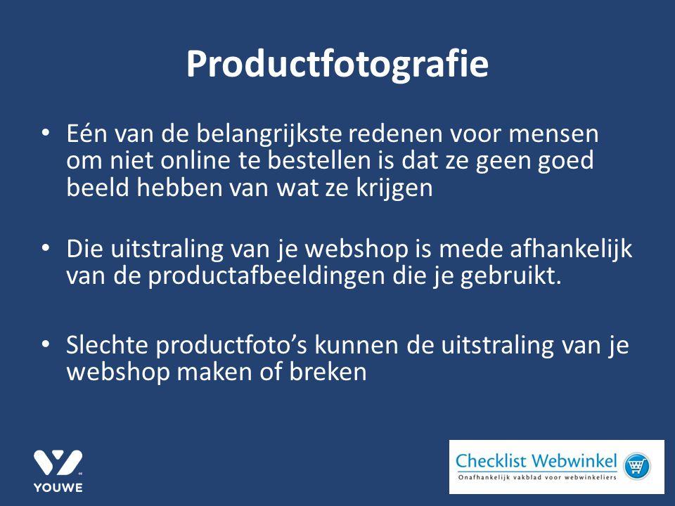 Productfotografie Eén van de belangrijkste redenen voor mensen om niet online te bestellen is dat ze geen goed beeld hebben van wat ze krijgen Die uitstraling van je webshop is mede afhankelijk van de productafbeeldingen die je gebruikt.