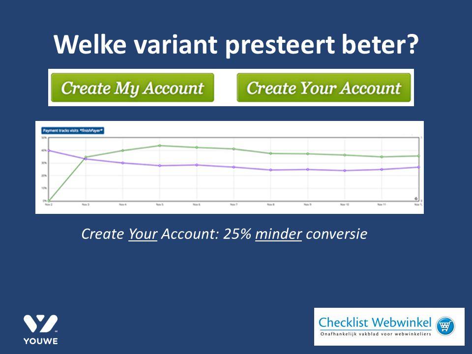 Welke variant presteert beter Create Your Account: 25% minder conversie
