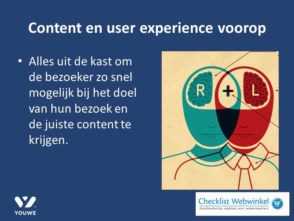 Content en user experience voorop Alles uit de kast om de bezoeker zo snel mogelijk bij het doel van hun bezoek en de juiste content te krijgen.