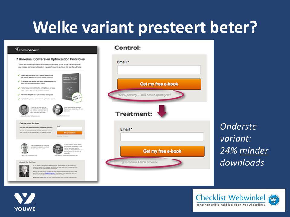 Welke variant presteert beter Onderste variant: 24% minder downloads