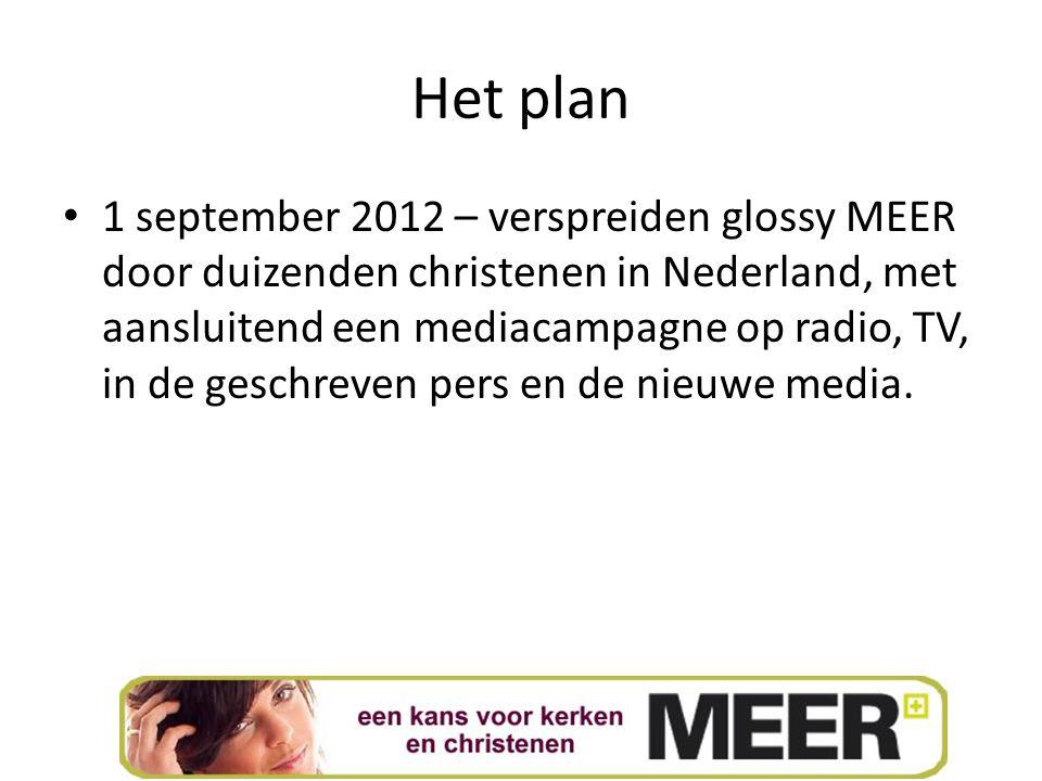 Het plan 1 september 2012 – verspreiden glossy MEER door duizenden christenen in Nederland, met aansluitend een mediacampagne op radio, TV, in de geschreven pers en de nieuwe media.